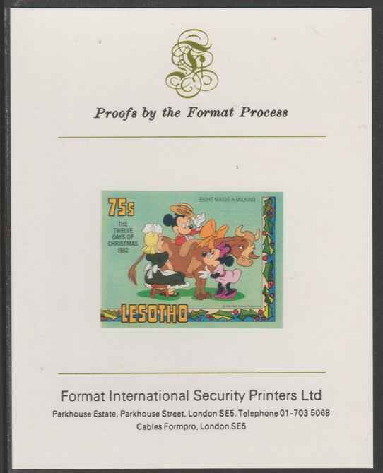Lesotho 1982 Disney Christmas - Twelve Days of Christmas 75c Eight Maids A-Milking imperf proof mounted on Format International proof card, as SG 530