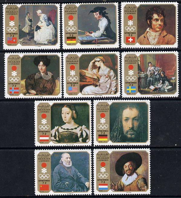 Sharjah 1972 Sapporo Winter Olympics (Paintings) perf set of 10 unmounted mint, Mi 953-62A*
