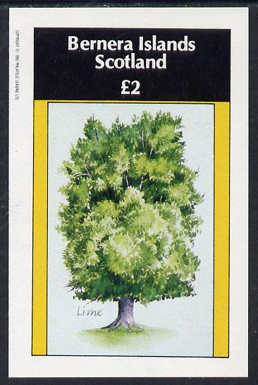 Bernera 1982 Trees (Lime) imperf deluxe sheet (�2 value) unmounted mint