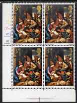 Great Britain 1967 Christmas 3d (Adoration by School of Seville) corner cyl block of 6 with dry print of gold affecting the value & Queen