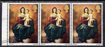 Great Britain 1967 Christmas 4d (Murillo) marginal strip of 3 with diagonal scratches affecting all 3 stamps, unmounted mint and most unusual, SG 757var