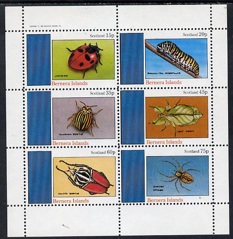Bernera 1982 Insects (Ladybird, Colorado, Spider etc) perf set of 6 values (15p to 75p) unmounted mint