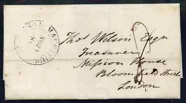 Mauritius 1842 pre-stamp entire to London dated 23 Nov 1842 with double ring Mauritius Post Office (dated Nov 24 81) reverse shows receiving mark of 3 MR 1843 in red and ...