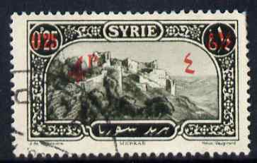 Syria 1928 4p on 0p25 (red) olive fine used single with Arabic fraction omitted, SG 224var, stamps on