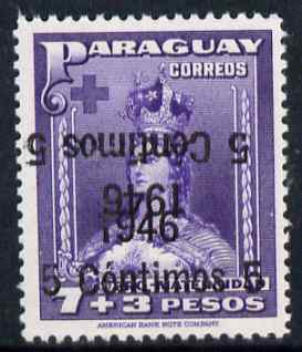 Paraguay 1946 surcharged 5c on 7p + 3p violet with surch doubled, one inverted unmounted mint, SG 633var
