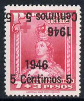 Paraguay 1946 surcharged 5c on 7p + 3p carmine-rose with surch doubled, one inverted unmounted mint, SG 634var