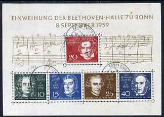 Germany - West 1959 Inauguration of Beethoven Hall m/sheet fine cds used, SG MS 1233a