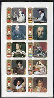 Sharjah 1972 Sapporo Winter Olympics (Paintings) imperf set of 10 unmounted mint, Mi 953-62B*