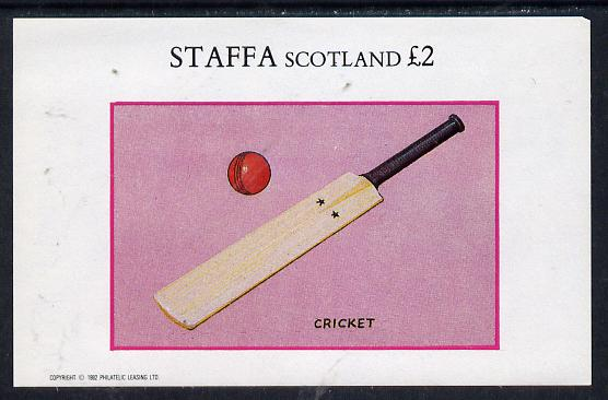 Staffa 1982 Sport Accessories (Cricket Bat) imperf deluxe sheet (�2 value) unmounted mint