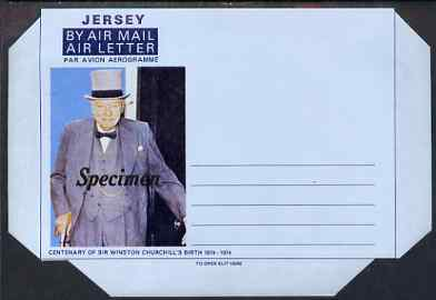 Jersey 1974 Churchill Centenary Airletter form inscribed 'JERSEY', overprinted SPECIMEN, folded on 'fold lines' otherwise pristine
