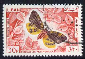 Lebanon 1965 Large Tiger Moth 30p fine commercial used SG873, stamps on butterflies