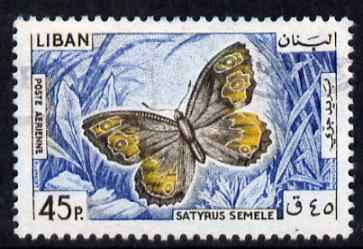 Lebanon 1965 Grayling Butterfly 45p fine commercial used SG876