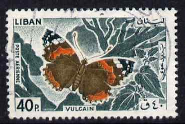 Lebanon 1965 Red Admiral Butterfly 40p fine commercial used SG875