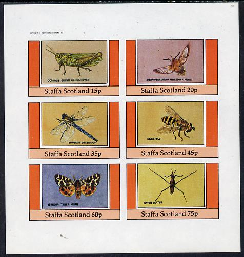Staffa 1982 Insects (Grasshopper, Tiger Moth etc) imperf set of 6 values (15p to 75p) unmounted mint