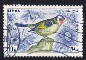 Lebanon 1965 Goldfinch 10p fine commercial used SG868