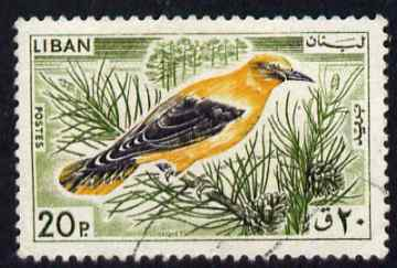 Lebanon 1965 Golden Oriole 20p fine commercial used SG871, stamps on birds
