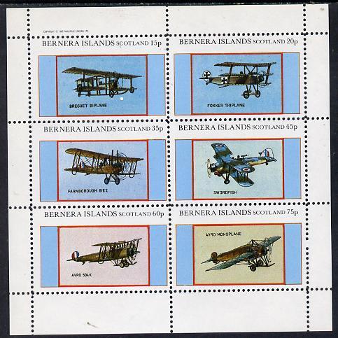 Bernera 1982 Aircraft #12 (Breguet, Swordfish, Avro etc) perf set of 6 values (15p to 75p) unmounted mint