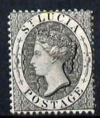 St Lucia 1864-76 QV (1d) black Crown CC P14 mounted mint SG15
