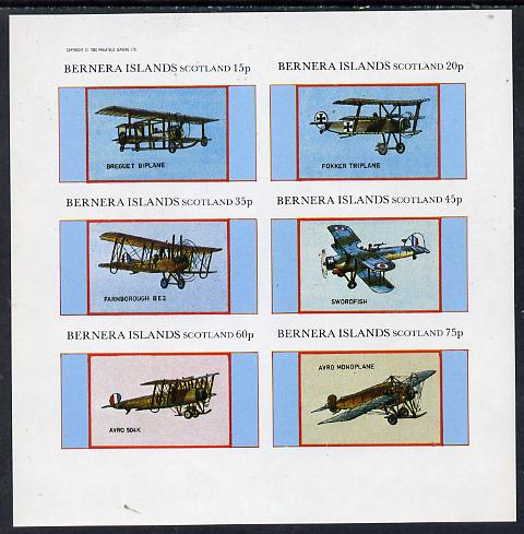 Bernera 1982 Aircraft #12 (Breguet, Swordfish, Avro etc) imperf set of 6 values (15p to 75p) unmounted mint