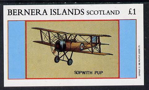 Bernera 1982 Aircraft #12 (Sopwith Pup) imperf souvenir sheet (�1 value) unmounted mint
