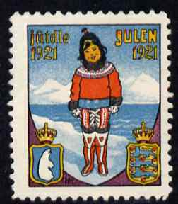 Cinderella - Denmark 1921 Christmas seal unused without gum