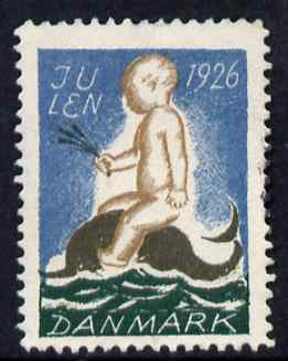 Cinderella - Denmark 1926 Christmas seal (Boy riding a Dolphin) unused without gum