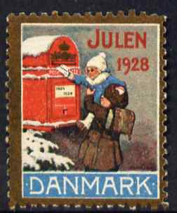 Cinderella - Denmark 1928 Christmas seal (Child posting letter) unused without gum