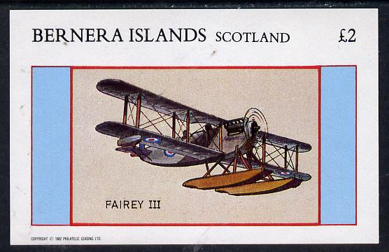 Bernera 1982 Aircraft #12 (Fairey III) imperf deluxe sheet (�2 value) unmounted mint