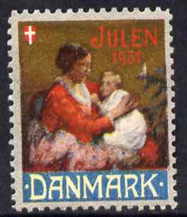 Cinderella - Denmark 1931 Christmas seal unused without gum