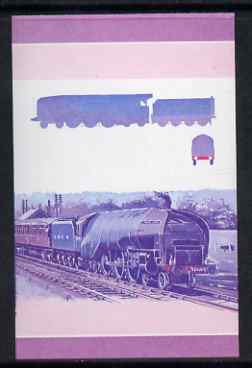 St Vincent - Bequia 1984 Locomotives #1 (Leaders of the World) $1.50 (Experimental Loco) imperf se-tenant progressive proof pair in magenta & blue only unmounted mint