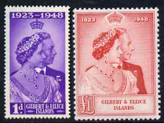 Gilbert & Ellice Islands 1949 KG6 Royal Silver Wedding set of 2 unmounted mint SG 57-8