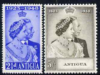 Antigua 1949 KG6 Royal Silver Wedding set of 2 mounted mint SG 112-3