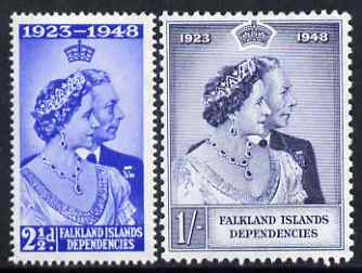 Falkland Islands Dependencies 1948 KG6 Royal Silver Wedding set of 2 mounted mint SG G19-20