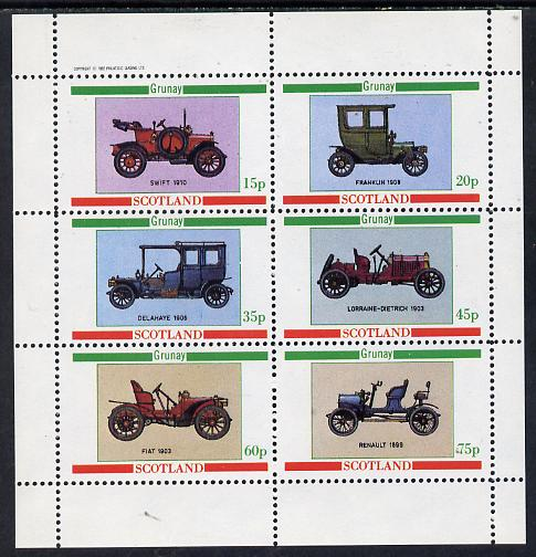 Grunay 1982 Vintage Cars (Swift 1910, Franklin 1908 etc) perf set of 6 values (15p to 75p) unmounted mint