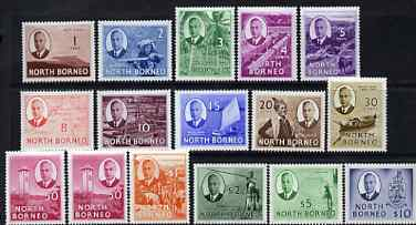 North Borneo 1950-52 KG6 full face definitive set complete 1c to $10 (including both 50c) mounted mint, SG 356-70