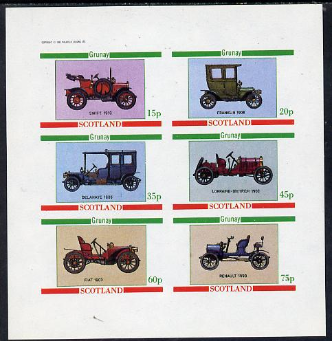 Grunay 1982 Vintage Cars (Swift 1910, Franklin 1908 etc) imperf set of 6 values (15p to 75p) unmounted mint