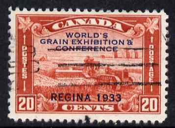 Canada 1933 Grain Exhibition 20c red fine corner cancel, SG 330