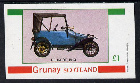 Grunay 1982 Vintage Cars (Peugeot 1913) imperf souvenir sheet (�1 value) unmounted mint, stamps on cars, stamps on peugeot