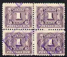 Canada 1906-28 Postage Due 1c block of 4 commercially used, SG D1