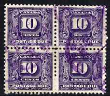 Canada 1930-32 Postage Due 10c block of 4, commercially used, SG D13