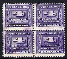Canada 1933-34 Postage Due 4c block of 4 commercially used SG D16