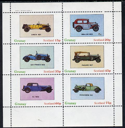 Grunay 1982 Early Cars (Lancia 1921, Packard 1927 etc) perf set of 6 values (15p to 75p) unmounted mint