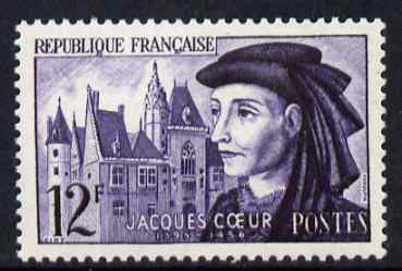France 1955 Jacques Coeur (merchant prince) 12f unmounted mint, SG 1260