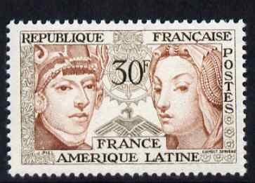 France 1956 France-Latin American Friendship 30f unmounted mint, SG 1285
