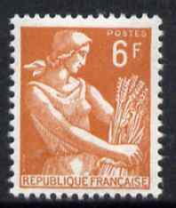 France 1954-59 Harvester 6f orange-brown unmounted mint, SG 1201e