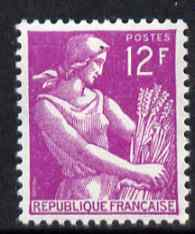 France 1954-59 Harvester 12f bright purple unmounted mint, SG 1201g