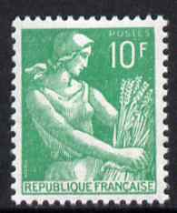 France 1954-59 Harvester 10f emerald unmounted mint, SG 1201f