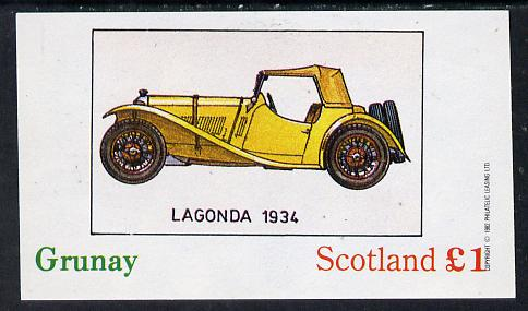 Grunay 1982 Early Cars (Lagonda 1934) imperf souvenir sheet (�1 value) unmounted mint