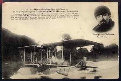 Postcard - Donnet-Leveque unused black & white card inscribed 'Hydroaeroplane Donnet-Leveque pilote par L'Enseigne e Vaisseau Conneau'