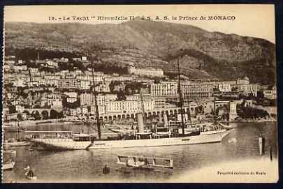 Postcard - Monaco unused sepia card inscribed 'Le Yacht Hirondelle a SAS le Prince de Monaco'